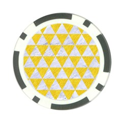 Triangle3 White Marble & Yellow Colored Pencil Poker Chip Card Guard by trendistuff