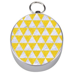 Triangle3 White Marble & Yellow Colored Pencil Silver Compasses by trendistuff