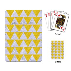 Triangle2 White Marble & Yellow Colored Pencil Playing Card by trendistuff