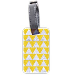 Triangle2 White Marble & Yellow Colored Pencil Luggage Tags (two Sides) by trendistuff