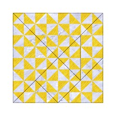 Triangle1 White Marble & Yellow Colored Pencil Acrylic Tangram Puzzle (6  X 6 ) by trendistuff