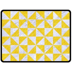 Triangle1 White Marble & Yellow Colored Pencil Double Sided Fleece Blanket (large)
