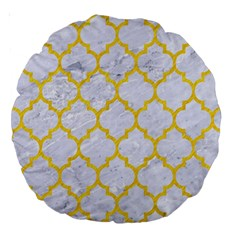 Tile1 White Marble & Yellow Colored Pencil (r) Large 18  Premium Round Cushions by trendistuff