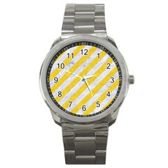 Stripes3 White Marble & Yellow Colored Pencil (r) Sport Metal Watch