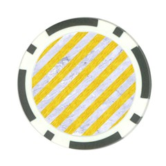 Stripes3 White Marble & Yellow Colored Pencil (r) Poker Chip Card Guard by trendistuff