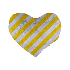 Stripes3 White Marble & Yellow Colored Pencil (r) Standard 16  Premium Heart Shape Cushions by trendistuff