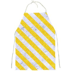 Stripes3 White Marble & Yellow Colored Pencil Full Print Aprons by trendistuff
