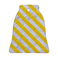 Stripes3 White Marble & Yellow Colored Pencil Bell Ornament (two Sides) by trendistuff