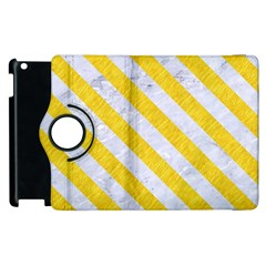 Stripes3 White Marble & Yellow Colored Pencil Apple Ipad 2 Flip 360 Case by trendistuff