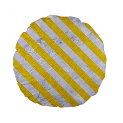 Stripes3 White Marble & Yellow Colored Pencil Standard 15  Premium Flano Round Cushions by trendistuff