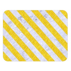 Stripes3 White Marble & Yellow Colored Pencil Double Sided Flano Blanket (large)  by trendistuff