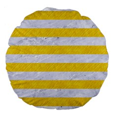 Stripes2white Marble & Yellow Colored Pencil Large 18  Premium Flano Round Cushions by trendistuff