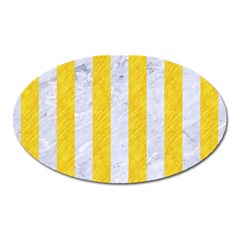 Stripes1 White Marble & Yellow Colored Pencil Oval Magnet by trendistuff
