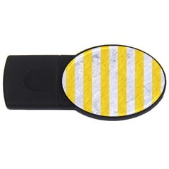 Stripes1 White Marble & Yellow Colored Pencil Usb Flash Drive Oval (4 Gb) by trendistuff
