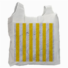Stripes1 White Marble & Yellow Colored Pencil Recycle Bag (one Side) by trendistuff