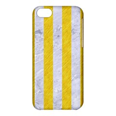 Stripes1 White Marble & Yellow Colored Pencil Apple Iphone 5c Hardshell Case by trendistuff