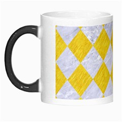 Square2 White Marble & Yellow Colored Pencil Morph Mugs by trendistuff
