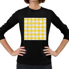 Square2 White Marble & Yellow Colored Pencil Women s Long Sleeve Dark T Shirts