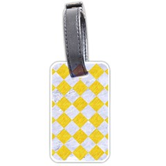 Square2 White Marble & Yellow Colored Pencil Luggage Tags (two Sides) by trendistuff