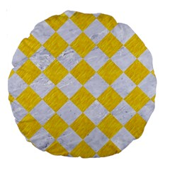 Square2 White Marble & Yellow Colored Pencil Large 18  Premium Round Cushions by trendistuff