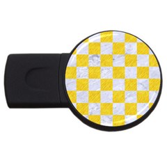 Square1 White Marble & Yellow Colored Pencil Usb Flash Drive Round (2 Gb) by trendistuff