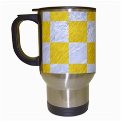 Square1 White Marble & Yellow Colored Pencil Travel Mugs (white) by trendistuff
