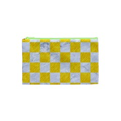 Square1 White Marble & Yellow Colored Pencil Cosmetic Bag (xs) by trendistuff