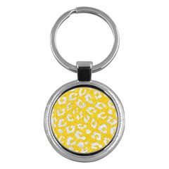 Skin5 White Marble & Yellow Colored Pencil (r) Key Chains (round)  by trendistuff