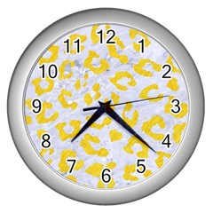 Skin5 White Marble & Yellow Colored Pencil Wall Clocks (silver)  by trendistuff