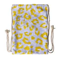 Skin5 White Marble & Yellow Colored Pencil Drawstring Bag (large) by trendistuff