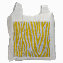 Skin4 White Marble & Yellow Colored Pencil Recycle Bag (one Side) by trendistuff