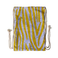 Skin4 White Marble & Yellow Colored Pencil Drawstring Bag (small) by trendistuff