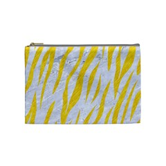 Skin3 White Marble & Yellow Colored Pencil (r) Cosmetic Bag (medium)  by trendistuff