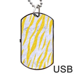 Skin3 White Marble & Yellow Colored Pencil (r) Dog Tag Usb Flash (one Side) by trendistuff