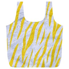 Skin3 White Marble & Yellow Colored Pencil (r) Full Print Recycle Bags (l)  by trendistuff