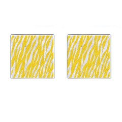 Skin3 White Marble & Yellow Colored Pencil Cufflinks (square) by trendistuff