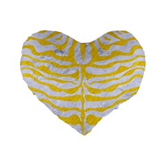 Skin2 White Marble & Yellow Colored Pencil (r) Standard 16  Premium Heart Shape Cushions by trendistuff