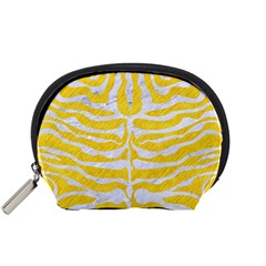 Skin2 White Marble & Yellow Colored Pencil Accessory Pouches (small)  by trendistuff