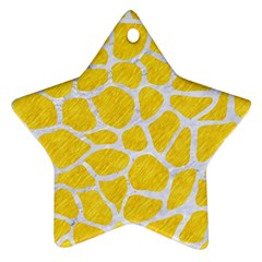 Skin1 White Marble & Yellow Colored Pencil (r) Star Ornament (two Sides) by trendistuff