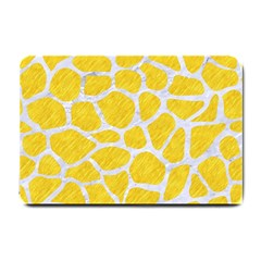 Skin1 White Marble & Yellow Colored Pencil (r) Small Doormat  by trendistuff