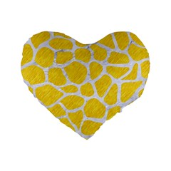Skin1 White Marble & Yellow Colored Pencil (r) Standard 16  Premium Heart Shape Cushions by trendistuff