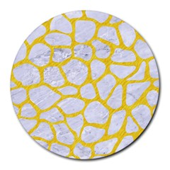 Skin1 White Marble & Yellow Colored Pencil Round Mousepads by trendistuff