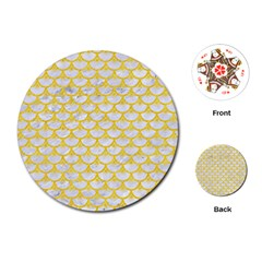 Scales3 White Marble & Yellow Colored Pencil (r) Playing Cards (round)  by trendistuff