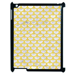 Scales3 White Marble & Yellow Colored Pencil (r) Apple Ipad 2 Case (black) by trendistuff