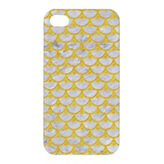 Scales3 White Marble & Yellow Colored Pencil (r) Apple Iphone 4/4s Hardshell Case by trendistuff