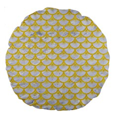 Scales3 White Marble & Yellow Colored Pencil (r) Large 18  Premium Round Cushions by trendistuff