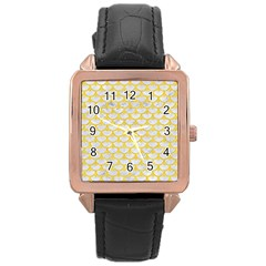 Scales3 White Marble & Yellow Colored Pencil (r) Rose Gold Leather Watch  by trendistuff