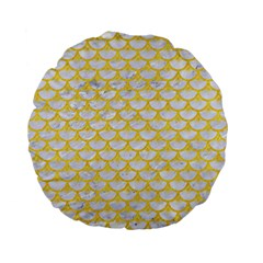 Scales3 White Marble & Yellow Colored Pencil (r) Standard 15  Premium Flano Round Cushions by trendistuff