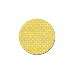 Scales3 White Marble & Yellow Colored Pencil Golf Ball Marker by trendistuff