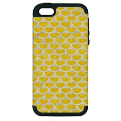 Scales3 White Marble & Yellow Colored Pencil Apple Iphone 5 Hardshell Case (pc+silicone) by trendistuff